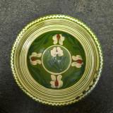 17. Farfurie veche din ceramica pentru agatat pe perete blid vechi lut 22 cm