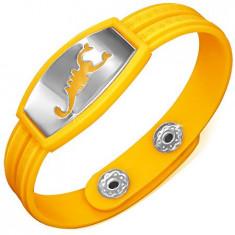 Brățară din cauciuc, galbenă, simbol grecesc, scorpion