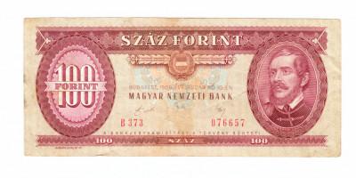 Bancnota Ungaria 100 forinti 10 ianuarie 1989, circulata, stare buna foto