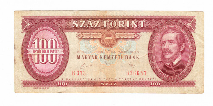 Bancnota Ungaria 100 forinti 10 ianuarie 1989, circulata, stare buna