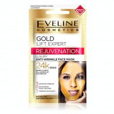 Masca luxurianta de fata Eveline Cosmetics Gold Lift Expert, 3 in 1 antirid cu aur de 24K
