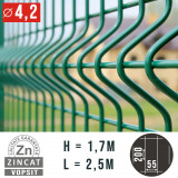 Cumpara ieftin PANOU GARD BORDURAT ZINCAT VERDE, 1700X2500 MM, DIAMETRU 4.2 MM