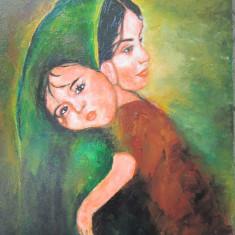Tablou / Pictura fata cu copil brunet semnat Cimpoesu, Portrete, Ulei, Realism
