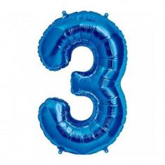 Balon folie cifra mare, albastru metalizat, 35 cm, pentru aniversari model model 3