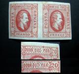 1865, eroare la Cuza 20 parale, pereche tip I+II, neuzata