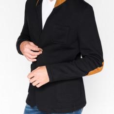 Sacou pentru barbati negru casual slim fit cu buzunare aplicate elegant inchidere doi nasturi stil jacheta M07