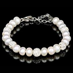 Bratara cu Perle Naturale si Argint 925, Felicia White