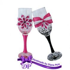Pahare nunta miri si nasi Handmade by Diana Puiu PNFJ 2 roz-negru