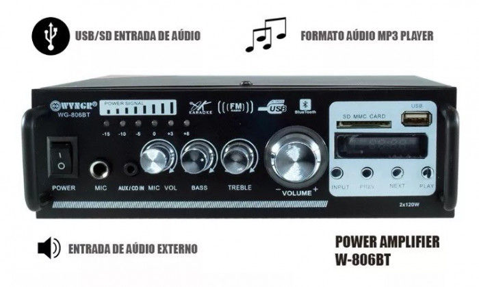 AMPLITUNER,STATIE AUDIO 120W,MP3 PLAYER,BLUETOOTH,TELECOMANDA,MICROFON BONUS.NOU