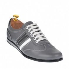 Pantofi sport barbati din piele naturala de culoare gri - SAMIGRI