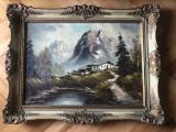 Tablou,pictura in ulei pe panza,cabana in Tirol,semnat, Peisaje, Altul