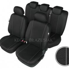 Set huse scaun model Hermes Black pentru Dacia Nova, set huse auto Fata + Spate