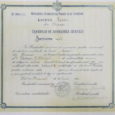 Certificat de absolvire a liceului Gheorghe Lazăr, Bucuresti 1914