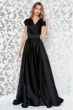 Cumpara ieftin Rochie Ana Radu neagra de lux lunga in clos din material satinat accesorizata cu cordon