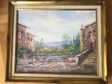 Tablou pictura scotiana in ulei pe panza ,peisaj,tehnica spaclu