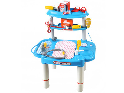 Set jucarie masuta + accesorii pentru micii doctori, culoare Alb – Albastru foto