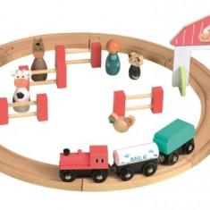 Set circuit tren din lemn cu figurine Egmont Toys