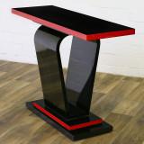Consola Art Deco din lemn masiv negru cu rosu CAT-AD-black-red