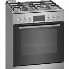 Aragaz Bosch HXN39BD50, Mixt, 4 arzatoare gaz, Cuptor electric, 7 Functii, Display, 1 suport telescopic, Inox
