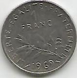 No(3) moneda- FRANTA - 1 FRANC - 1969, Europa