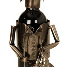 Suport pentru Sticla Vin NAGO model Pescar metal lucios capacitate 1 Sticla H 34 cm Maro Negru