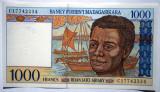 50. MADAGASCAR 1000 FRANCS FRANCI ND 1994 SR. 234 XF/AUNC