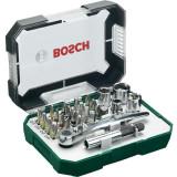 Set 26 accesorii, biti, suport universal, 4 chei tubulare, adaptor chei tubulare, cheie clichet, Bosch