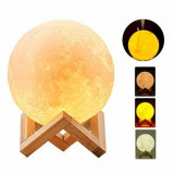Umidificator lampa veghe, luna 3D cu suport de lemn,880 ml