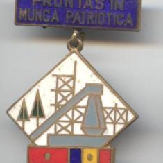 Insigna veche Fruntas in Munca Patriotica  - Superba email