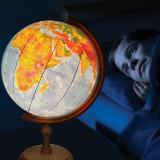 Cumpara ieftin Glob pamantesc iluminat 32 cm, harta politica si fizica, suport lemn, fus orar
