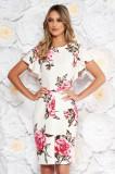 Rochie alba eleganta tip creion cu maneca scurta din material fin la atingere cu imprimeuri florale