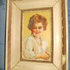 A819-Tablou mic vechi copil lito carton repictata.