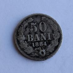 50 Bani 1884 - moneda argint romania / gaurita