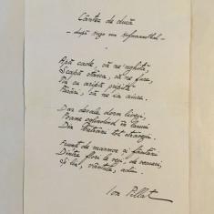 Manuscris poezie ION PILLAT - CANTEC DE DUCA (cu semnatura poetului) Nepublicat!