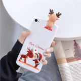 Cumpara ieftin Husa Apple iPhone SE 2020 Model de Craciun Alba Copil si Ren + Figurina 3D, Oem