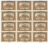 Romania, Emisiunile Oradea, LP 20e/1918, bloc de 12, supr. deplasat, eroare, MNH