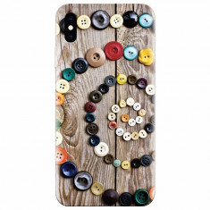 Husa silicon pentru Apple Iphone X, Colorful Buttons Spiral Wood Deck