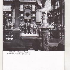 Bnk cp Sinaia - Muzeul Peles - Vizitatori in holul de onoare - necirculata, Printata