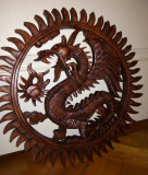 Superba aplica de perete dragon din lemn sculptat