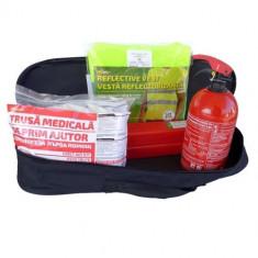 Kit siguranta auto RoGroup – trusa medicala 2 x triunghi stingator vesta geanta depozitare
