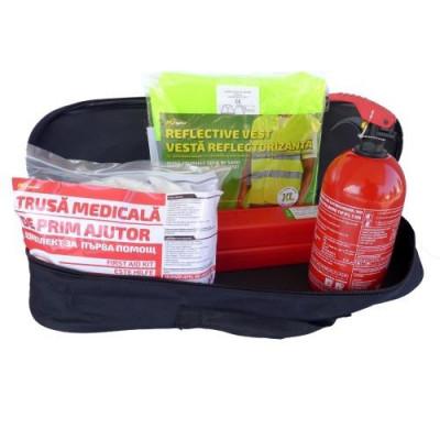 Kit siguranta auto RoGroup – trusa medicala 2 x triunghi stingator vesta geanta depozitare foto