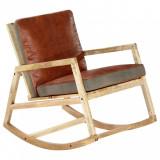 Scaun balansoar, maro, piele naturală și lemn masiv de mango, vidaXL