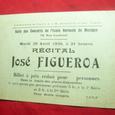 Bilet de Concert 1930 cu Program- Recital Jose Figueroa- Sala Concerte- Franta