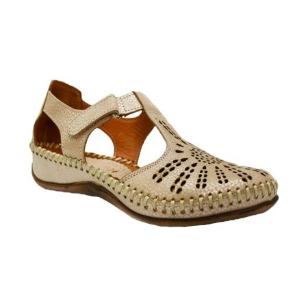 Pantof de zi cu bareta cu scai si talpa ortopedica, nuanta de auriu