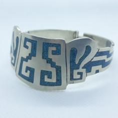 BRATARA argint MEXIC splendida cu MICROMOZAIC TURCOAZE lata DE EFECT rara