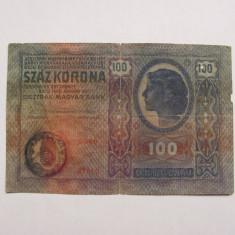"100 korona coroane 1912 scrie si in romana + stampila ""Timbru Special Romania"""