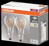 Set 2 becuri LED OSRAM, 4W (40W), E27, 470 lumeni, lumina calda (2700K) 4052899972001
