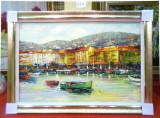Tablou pictat manual pe panza in ulei, Peisaj Cladiri Apa A-095, Natura, Realism