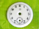 B753-I-Cadran portelan antic ceas buzunar barbat stativ cupru anii 1900.