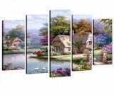 Set 5 tablouri House by the River - Tablo Center, Multicolor